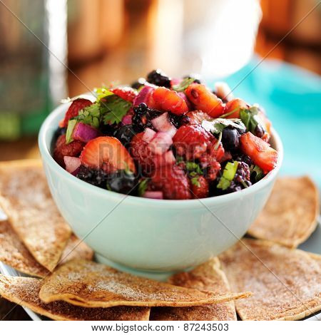 berry salsa with sweet tortilla chips