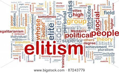 Background text pattern concept wordcloud illustration of elitism