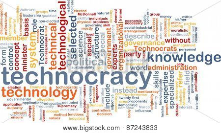 Background text pattern concept wordcloud illustration of technocracy