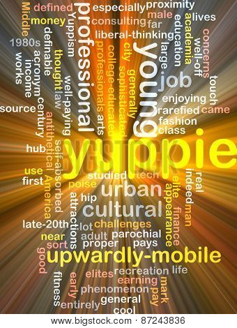 Background text pattern concept wordcloud illustration of yuppie glowing light