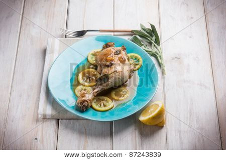 roasted chicken leg with lemon sauce