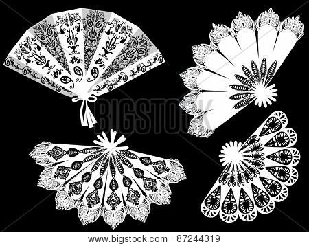 illustration with decorated fan silhouettes isolated on black background