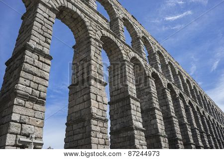 Roman aqueduct of segovia. architectural monument declared patrimony of humanity and international interest by UNESCO