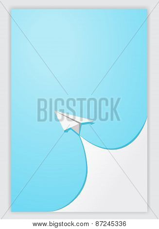 Blue Paper Curl Corner White And Airplane Background.vector Illustrator Design Template.