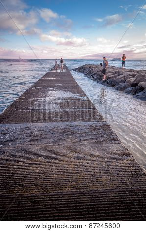 breakwater on famous Waikiki