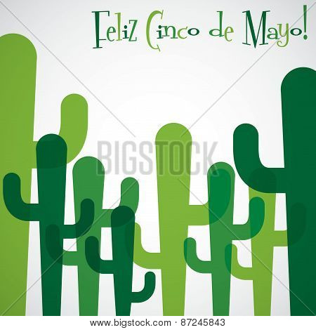 Overlay Cactus Cinco De Mayo Card In Vector Format.