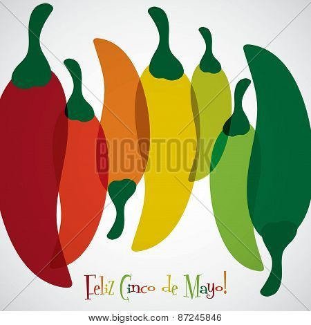 Overlay Chilli Pepper Cinco De Mayo Card In Vector Format.