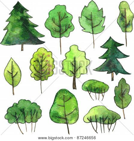 set of cartoon trees drawing by watercolor