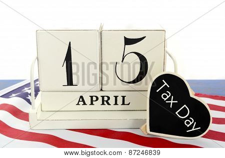 April 15 Calendar Reminder For Usa Tax Day.