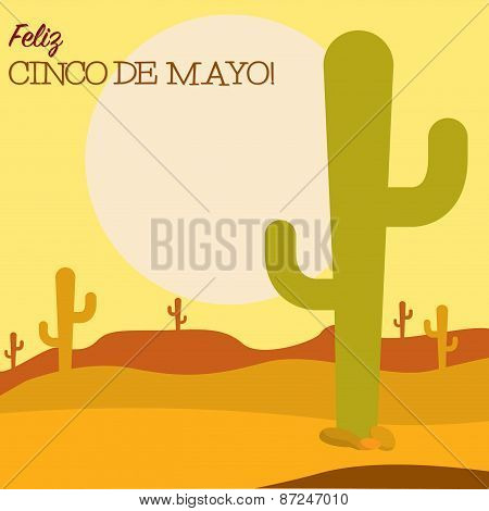 Desert Cinco De Mayo Card In Vector Format.