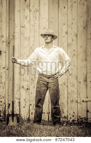 Young Proud Farmer Standing Up