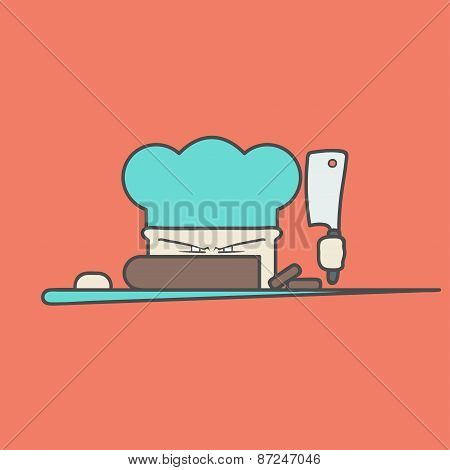 Flat vector icon of cute angry chef with knife and hat