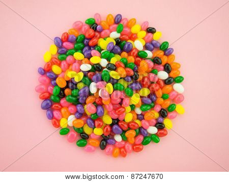 Jelly Beans Frame And Background (pink Background)