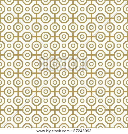 Geometric Abstract Seamless  Pattern with Golden Octagons