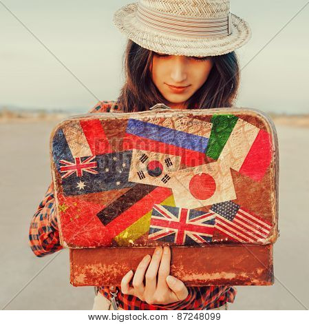 Tourist Girl Looking For Something In Suitcase