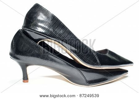 Photo of ladies black high heel shoes, isolated on a white background