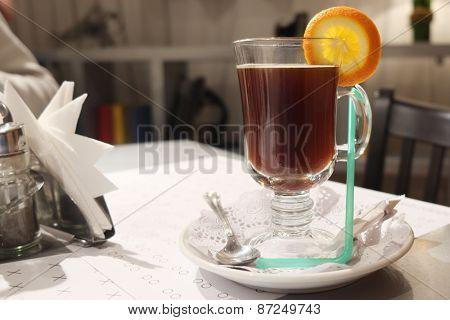 Hot mulled wine with orange slice