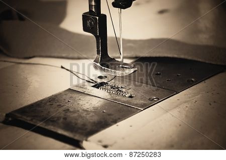 Part Of Sewing Machine And Fabric. Horizontal, Sepia, Monochrom