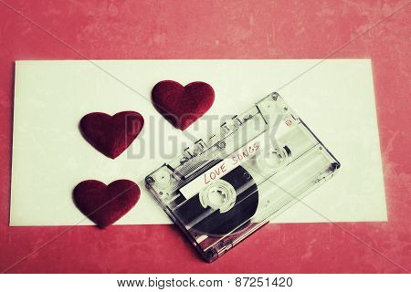 Audio Cassette Tape On Red Backgound Vintage Tone Color