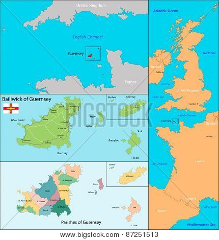 Map of administrative divisions the Bailiwick of Guernsey