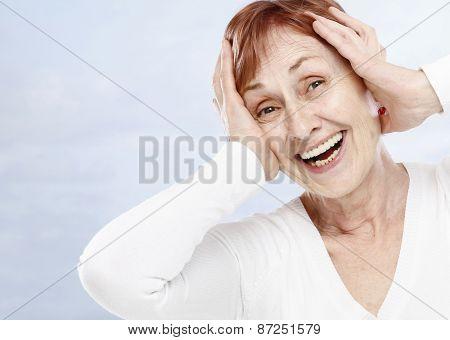 Senior woman have fun on summer holiday