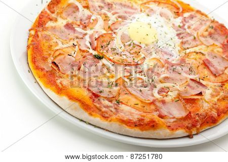 Pizza Carbonara with Bacon, Eggs