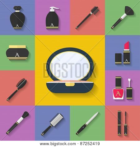 Makeup, Cosmetic Icon Set. Flat Style