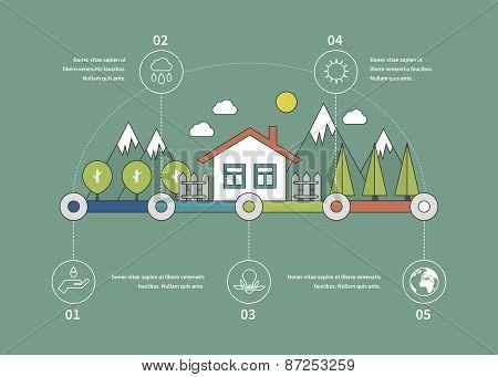 Ecology illustration infographic elements flat design. Eco life.