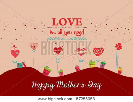 happy mothers day background with trees heart