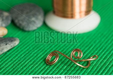 Stones, Copper Wire And Element From A Copper Wire