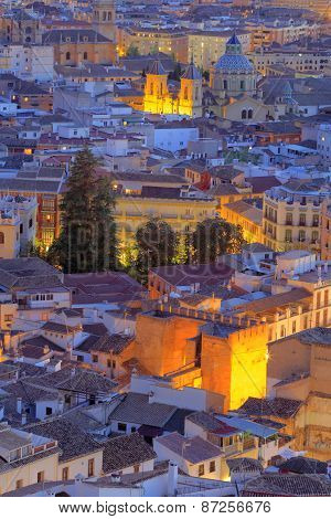 Cityscape at sunset, Granada, Andalusia, Spain