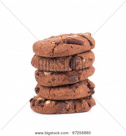 Stack of biscuits with chocolate.