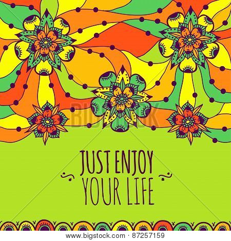 Colorful banner Just enjoy your life