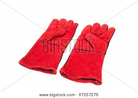 Heavy-duty red gloves.