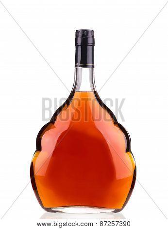 Cognac bottle on white background.