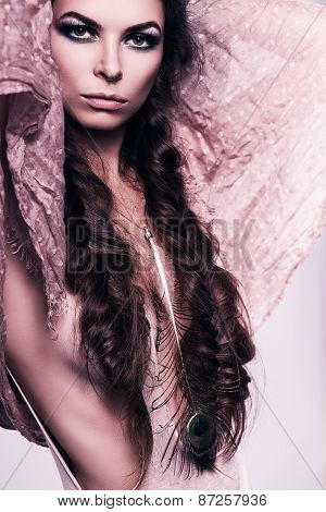 Sexy Hot Woman In Pink Scarf