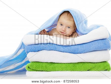 Baby Under Towels Blanket, Clean Kid After Bath, Cute Infant Isolated Over White
