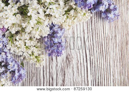 Lilac Flowers Bouquet On Wooden Plank Background, Spring Purple Blooming Bunch, Branch Wood Texture