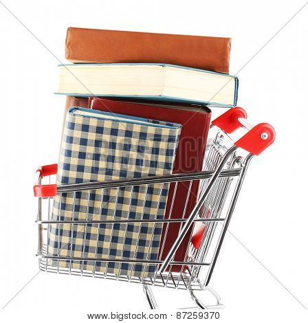 Shopping cart with books isolated on white
