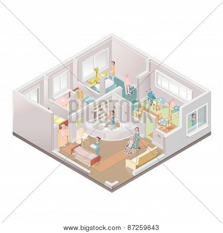 Nursing home assisted-living facility illustration