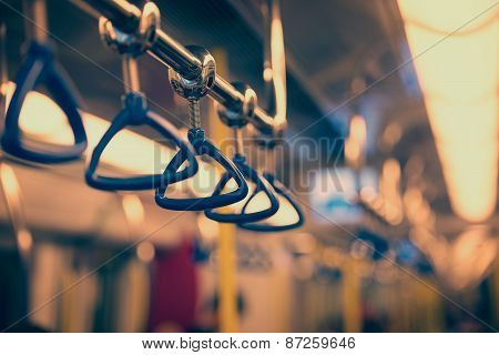 Handrails in a subway car