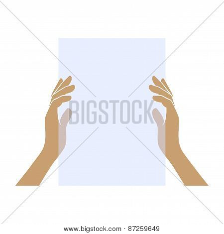 Hands Holding Blank Paper on White Background. Vector