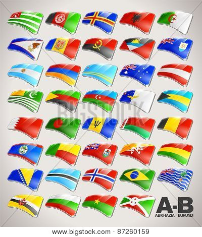 World Flags Vector Icon Collection from A to B