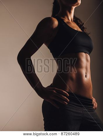 Muscular Young Woman Posing In Sportswear