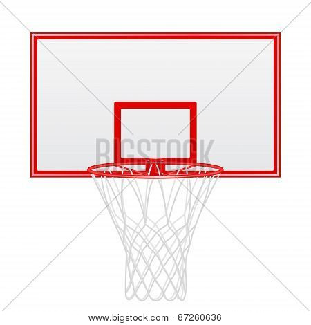 Red Basketball Backboard Isolated On White Background