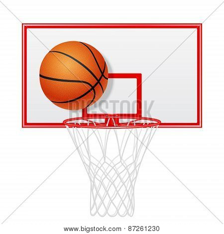 Red Basketball Backboard And Ball. Isolated.