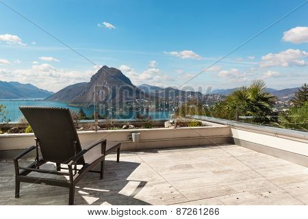 Architecture, penthouse, panoramic terrace with lake view