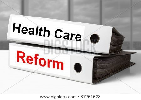 White Office Binders Healthcare Reform