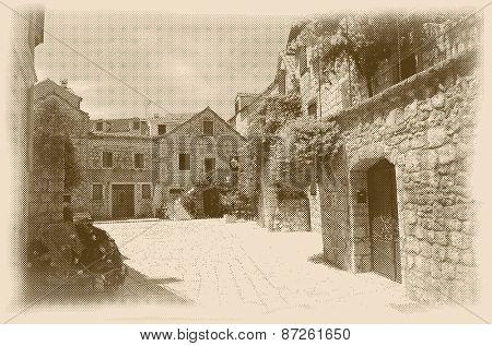 vector halftone old Mediterranean stone houses, retro style