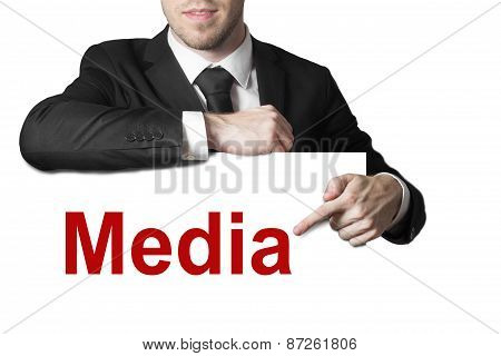 Businessman Pointing On Sign Media Isolated